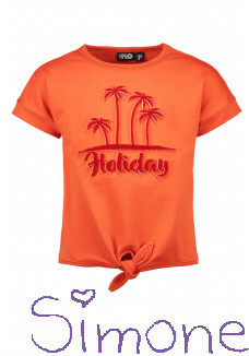 Like Flo knotted shirt F103-5311-273 orange zomercollectie 2021 kinderboetiek simone