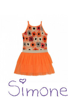 LoFff jurk swirling dress Z8357 bright peach zomercollectie 2020 kinderboetiek simone